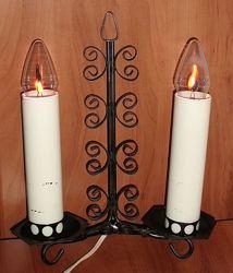 Ночник кованый две свечи мерцающее пламя СССР 27х29 см