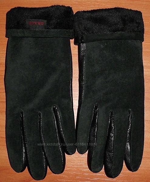 Фирменные женские перчатки натуральная кожа замша Grace р. 6. 5