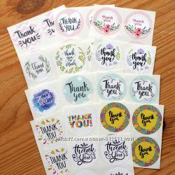 Фигурные наклейки, стикеры, самоклейка, Спасибо, Thank you