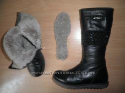Зимние кожаные сапоги Tiflani натуральный мех р. 32 Турция