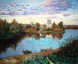 Картина маслом Церковь в селе в Киеве