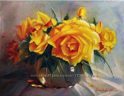 Картина маслом жёлтые розы