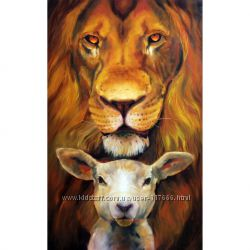 Картина маслом Львица и ягненок