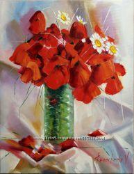 Картина маслом на холстеМаки радости