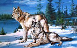 Картина маслом Волки на опушке