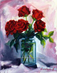 Картина маслом красные розы