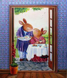 Картина маслом заяц и зайка