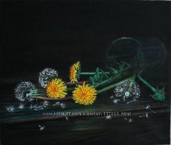 картина маслом Одуванчики