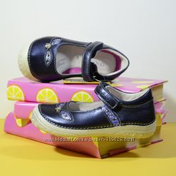кожаные туфли на девочку ddstep ддстеп синие на липучке брендовые р. 25-30