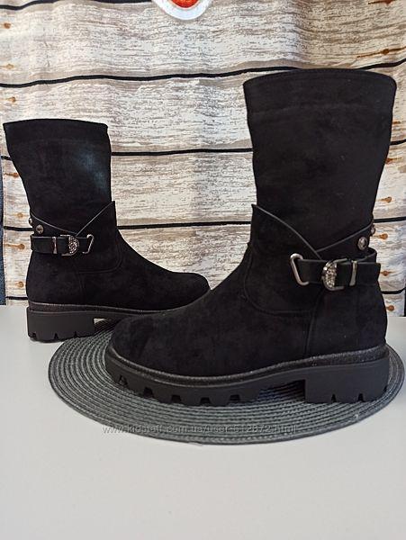 Замшевые ботинки 32-36рр, шерсть