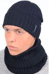 Комплект мужской шапка на флисе и бафф 55-58