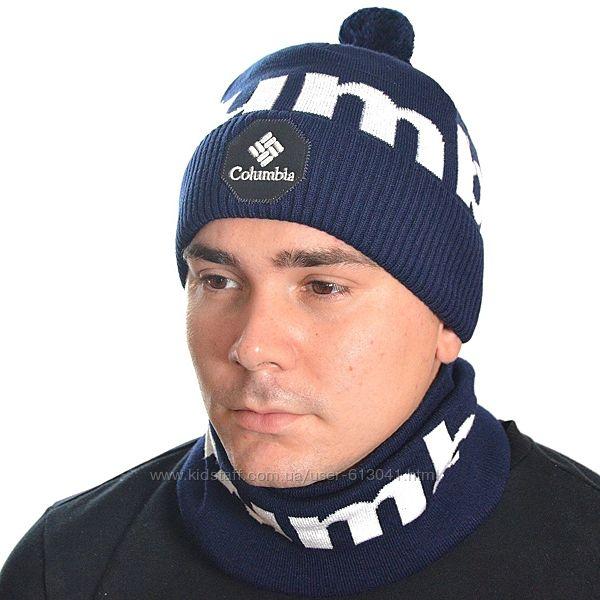 Комплект мужской шапка и бафф на флисе 55-58