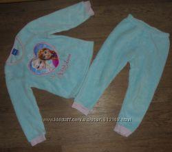 Махровая теплая пижама мягенькая теплая пушистая Disney Frozen 3-4