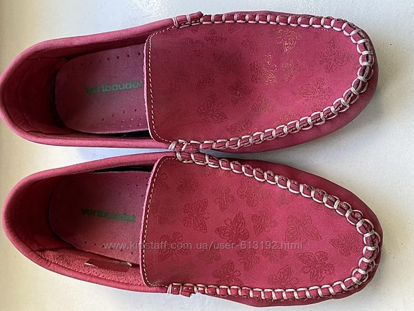 Туфли мокасины розовые замшевые Vertbaudet