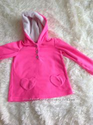 теплючая туника-худи картерс на девочку 3т с меховым капюшоном розовая