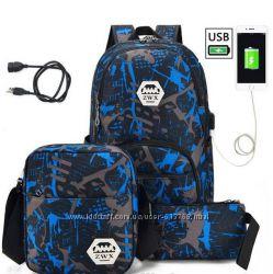 Рюкзак с usb портом, сумка через плечо и клатч в комплекте