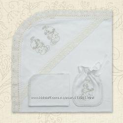 Крестильный комплект крыжма с натуральным кружевом, мешочек, салфетка
