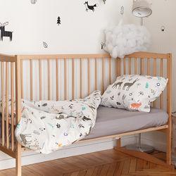 Комплект сменного постельного белья в детскую кроватку Дикий лес МагБеби