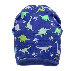 Демисезонная двухслойная шапка для мальчика Динозавры  48-52