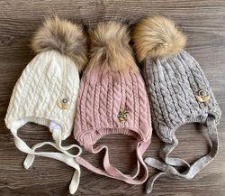 Зимняя вязаная шапка с утеплением с натуральным помпоном