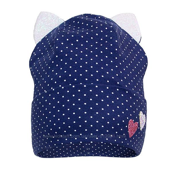 Демисезонная двухслойная шапка с ушками для девочки ог. 52