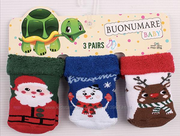 Набор теплых новогодних махровых носков 0-6 мес. Buonumare