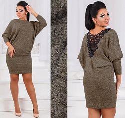 Теплое платье с кружевной спинкой 44-46 р, фасон летучая мышь.