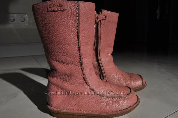Красивые высокие сапожки Кларкс Clarks для модницы р. 8 натуральная кожа