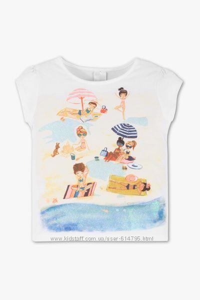 Футболка для девочки C&A Пляж с блестками . Супер цена,  4-5 лет