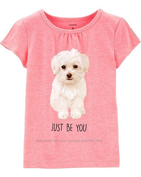Яркая футболка для девочки с собачкой Carter s pink