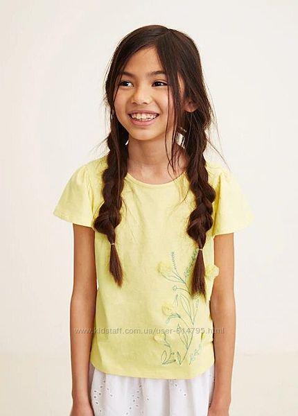 Футболка на девочку Mango Испания желтого цвета