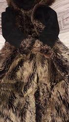 Натуральна дублёнка с натуральным мехом и капюшоном