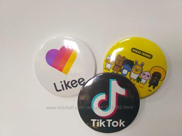 Значки на рюкзак или одежду Likee, Tik tok, Bts, Exo кпоп групп