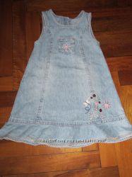 Сарафан платье 2шт на 2-3-4 года джинсовый