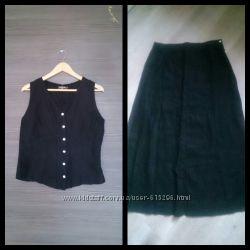 Черный льняной комплект юбка и жилет