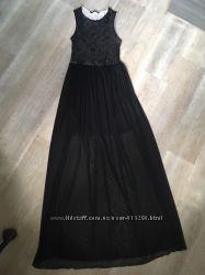 Длинное черное полупрозрачное платье