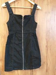 Черный джинсовый сарафан на молнии