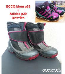 Ecco biom р29 очень теплые и Adidas ботинки gore-tex р29 Есть возврат
