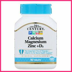Кальций, магний, цинк, витамин Д3, 21st Century, 90 таблеток
