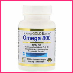 California Gold Nutrition, Омега 800, Триглицеридная форма 1000 мг 30 капсу