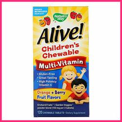 Natures Way, Alive Детский жевательные мультивитамины 120 шт