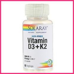 Solaray, Витамин D3  K2, без сои, 60 капсул