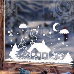 Акция Новогодние Виниловые наклейки на стену.