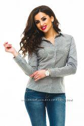 Новая классная офисная рубашка серого цвета, с мелким рисунком, р. 44. Новая