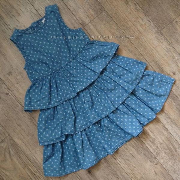 Красивое платье из тонкого хлопкового джинса. Topolino. Рост 98, 110 см.