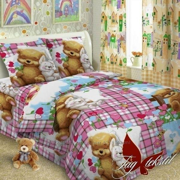 Детская постель в кровать и кроватку. Много вариантов.