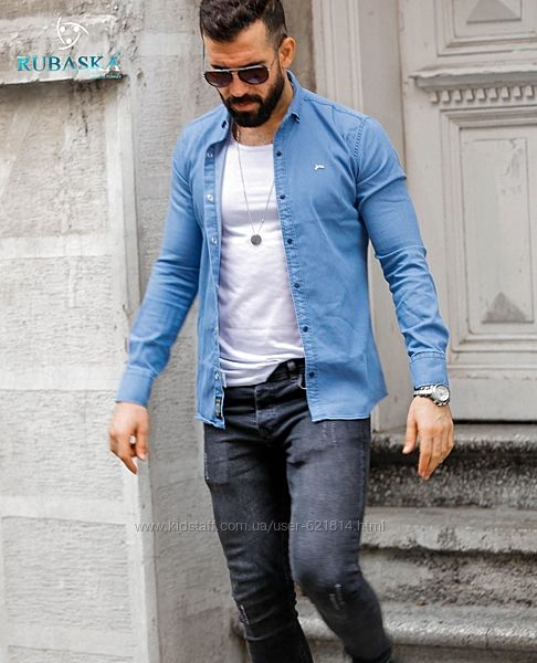 Рубашка мужская из легкого джинс