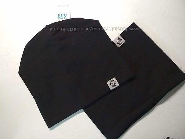 Комплект шапка и хомут 54-57 см от 7 лет чёрный