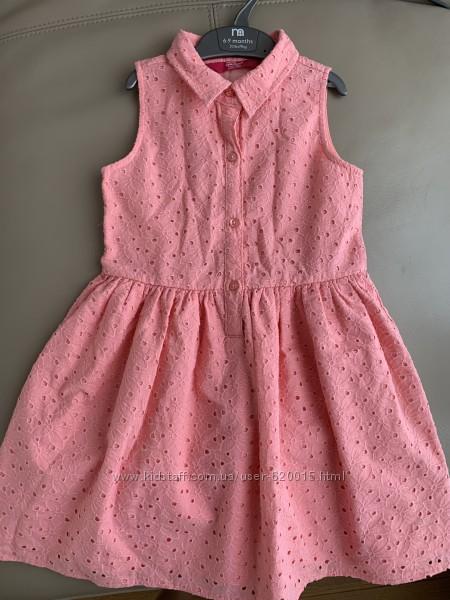 Нежное котоновое платье, идеальное сост. , 5-6 л.