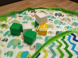 Плеймат 100 см, игровой коврик, мешок, корзина для игрушек,   HelenaMaker